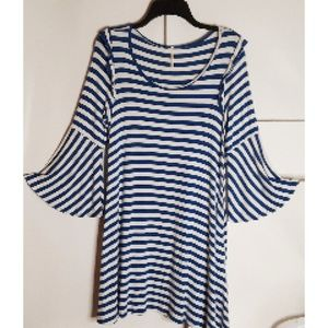 Mittoshop Dress Blue/Wt Stripe Bell Sleeve Sz SM